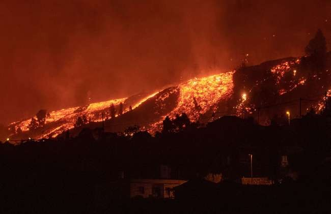 Lava flows after volcano eruption in Spain's Canary Islands